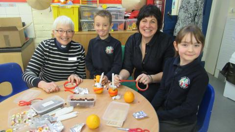 Christingle making in school